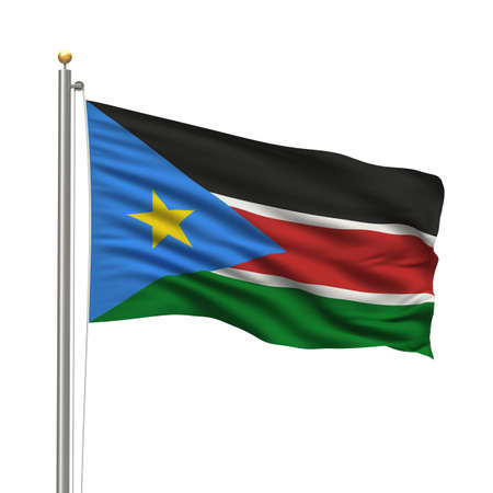 sudan: Flag of South Sudan with flag pole waving in the wind over white background Stock Photo