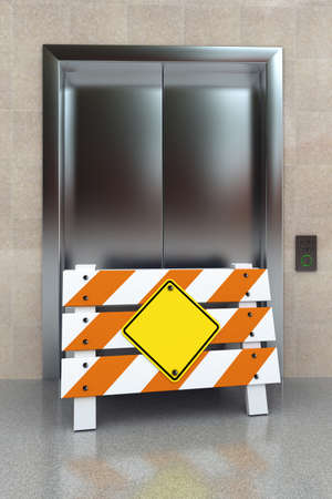 Broken elevator concept with construction barrier and blank sign photo