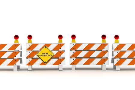 road work: A line of barriers with under construction sign