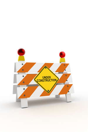 Under construction barrier with blinkers over white background photo