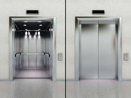 Two images of a modern elevator with opened and closed doors photo