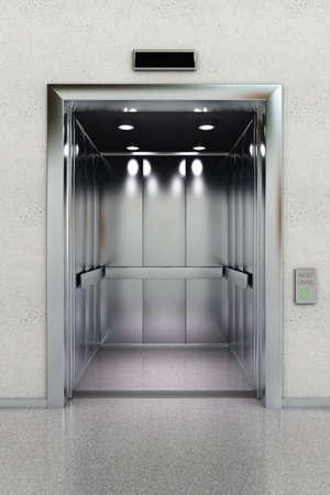 승강기: 로비에서 현대 엘리베이터의 전면 뷰