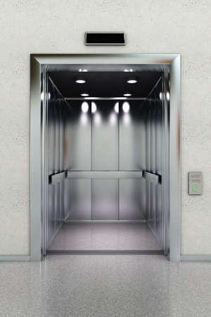open gate: Front view of a modern elevator in lobby Stock Photo