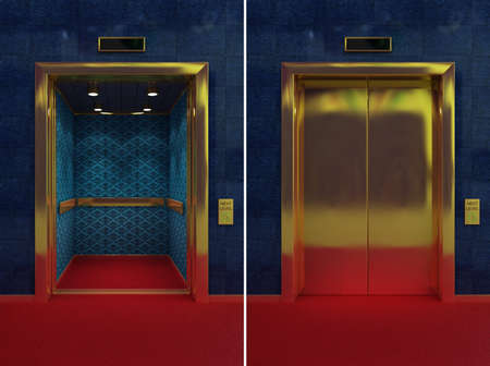 Two images of a luxurious elevator with opened and closed doors photo