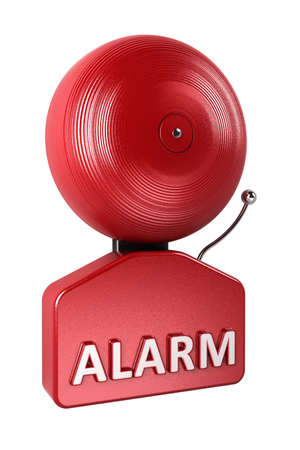 Red fire alarm bell over white background photo
