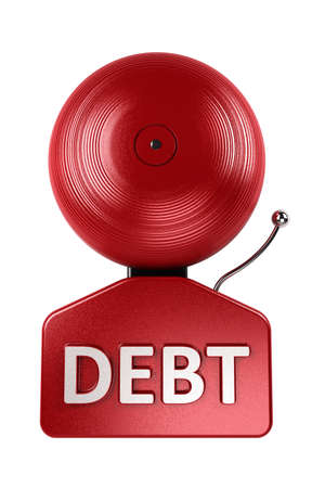Front view of a red debt alarm bell over white over white background photo