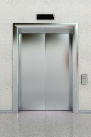 sliding door: Front view of a modern elevator with closed doors in lobby