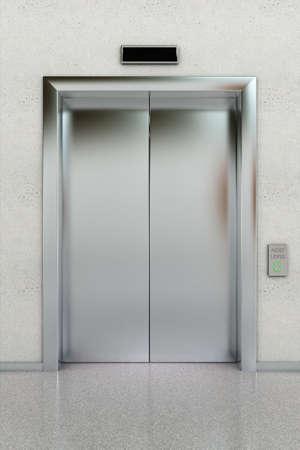 cerrar la puerta: Vista frontal de un moderno ascensor con las puertas cerradas en el lobby