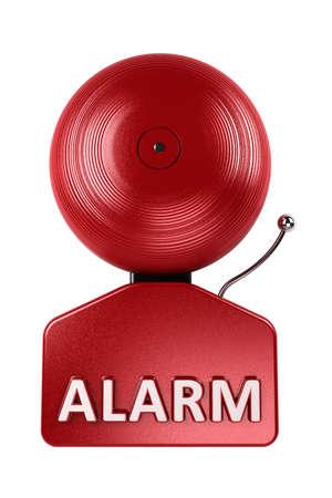 경보: 흰색 배경 위에 빨간색 화재 경보 벨의 전면 뷰