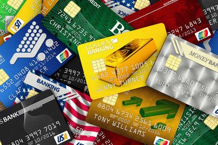 carta credito: Diversa carta di credito falsa sparsi. Tutti i loghi, le banche ei nomi sono falsi e non sono reali. Archivio Fotografico