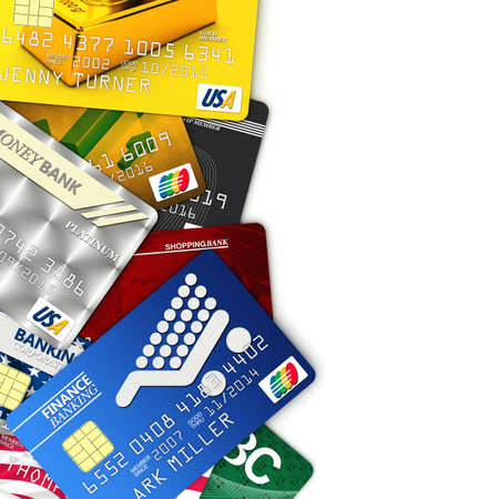 debit card: A bunch of fake credit cards over white with clipping path - all logos, names, number and designs are fake Stock Photo