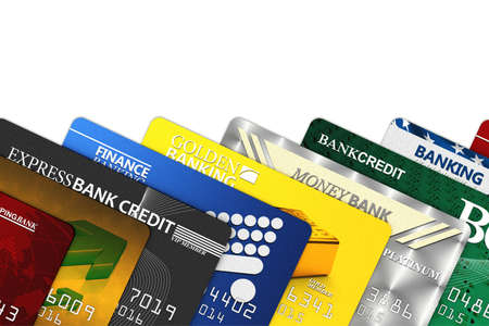 credit card debt: A bunch of fake credit cards over white - all logos, names, number and designs are fake
