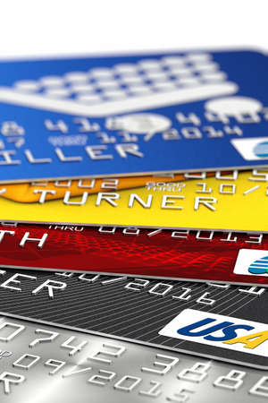 debit: A pile of fictitious credit card. All logos, banks and names are fake and not real.