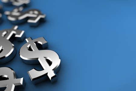 dollaro: Concetto di dollaro con i simboli del dollaro d'argento su sfondo blu