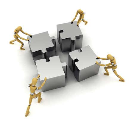 piezas de puzzle: Cuatro maniquíes de madera empujando piezas en su lugar