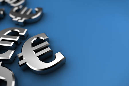 bailout: Euro concept with silver dollar symbols over blue background