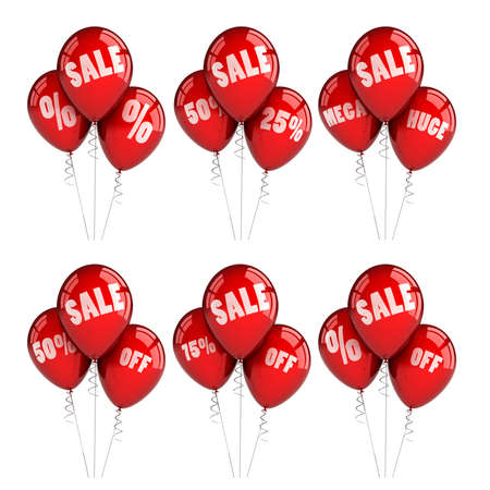 Six different party balloons advertising big sales photo
