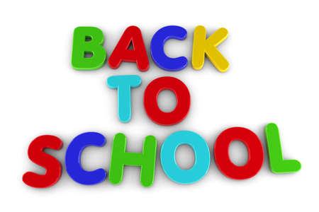 Back to School concept with magnetic letters over white Stock Photo - 10390714