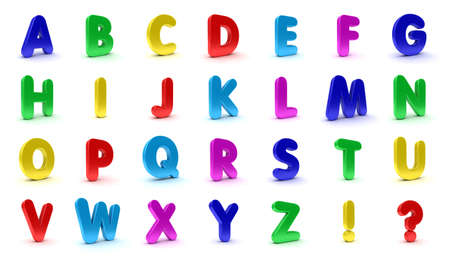 pre school: Alphabet in capital letters in the shape of refrigerator magnets isolated over white background