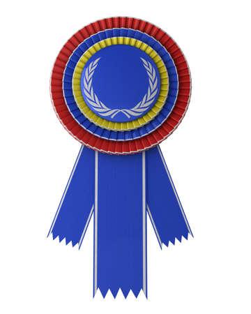Colorful award ribbon isolated over white background photo