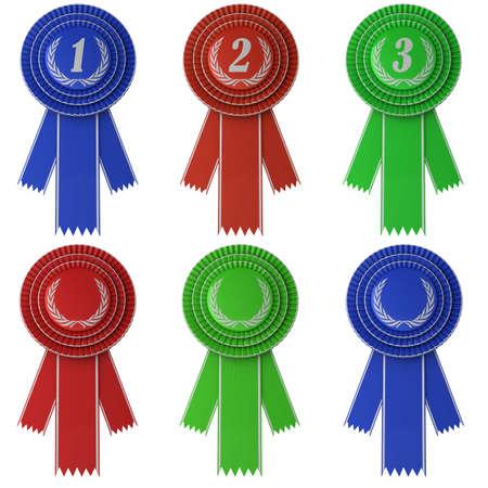 primer lugar: Conjunto de seis cintas de diferente color Premio aisladas sobre fondo blanco