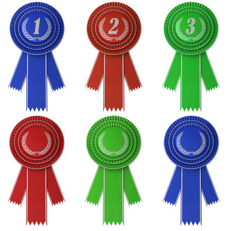 first place: Set of six differently colored award ribbons isolated over white background Stock Photo