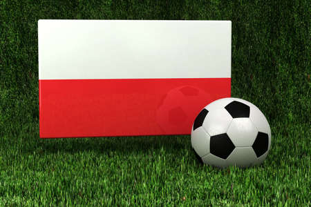 polish flag: Flag of Poland with soccer ball over grass background - very highly detailed render