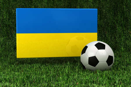 soccerball: Flag of Ukraine with soccer ball over grass background - very highly detailed render
