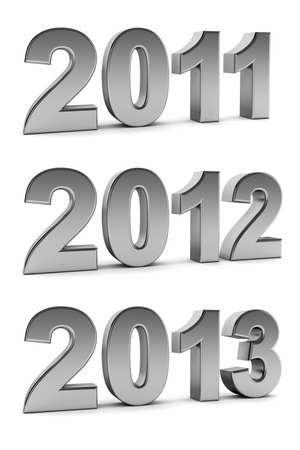 turns of the year: Pr�ximos a�os 2012 y 2013 como d�gitos de cromo sobre fondo blanco