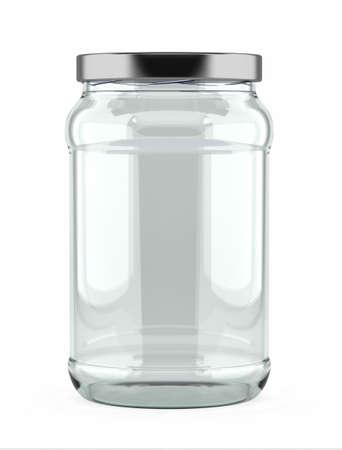 bocaux en verre: Bocal en verre vide avec couvercle en aluminium sur fond blanc