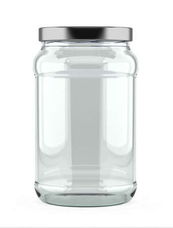 Empty glass jar with aluminum lid over white background photo