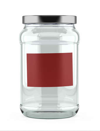 labeled: Empty glass jar with red label over white background Stock Photo