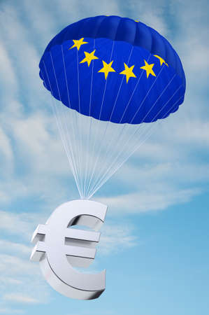 monetary devaluation: Parachute with the european flag on it holding a Euro currency symbol - concept for security funds for debt ridden countries in Europe Stock Photo