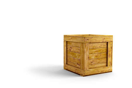 boxed: Wood crate over white background