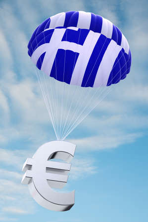 greek currency: Parachute with the Greek flag on it holding a Euro currency symbol - concept for security funds for debt ridden Greece Stock Photo