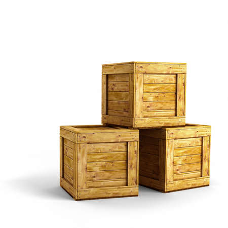 Three wooden crates over white background Stock Photo