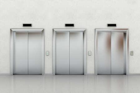 lobbies: Three closed elevators in a business lobby Stock Photo