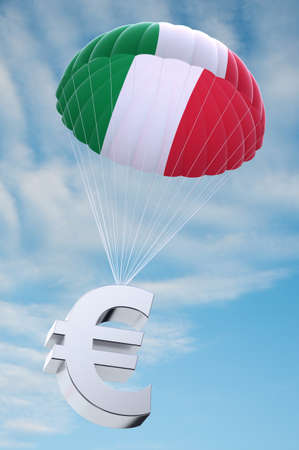 devaluation: Parachute with the Italian flag on it holding a Euro currency symbol - concept for security funds for debt ridden Italy Stock Photo