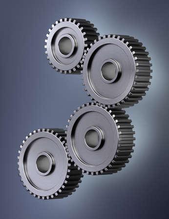 Four gear wheels symbolizing perfect teamwork Stock Photo - 11296883