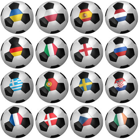 All participating teams of the European Soccer Championship of 2012 - clipping paths for each soccer ball included photo