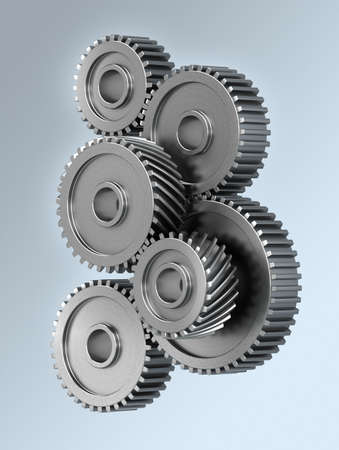 interdependence: Several gear wheels symbolizing accuracy
