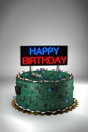 geeky: Fun birthday cake for geeks Stock Photo