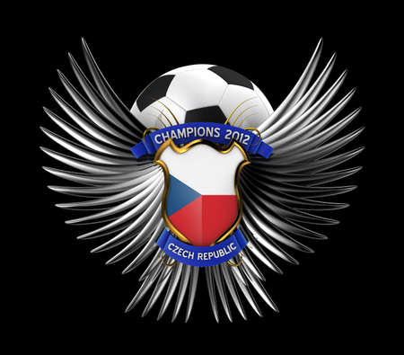 Czech Republic Soccer Ball - easy to isolate over black background photo
