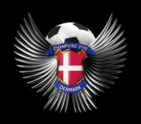 Denmark Soccer Ball - easy to isolate over black background photo