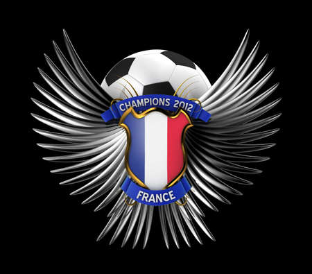 France Soccer Ball - easy to isolate over black background photo