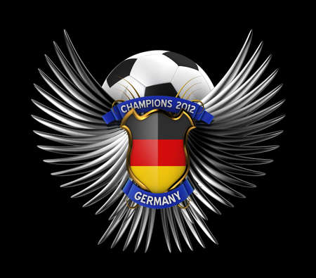 Germany Soccer Ball - easy to isolate over black background photo