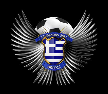 Greece Soccer Ball - easy to isolate over black background photo