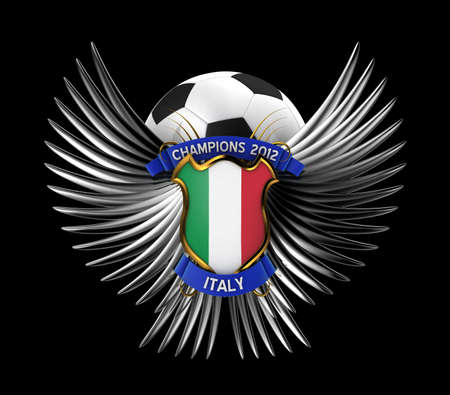 Italy Soccer Ball - easy to isolate over black background photo
