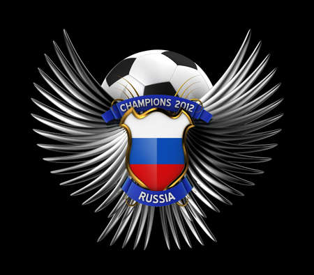 Russia Soccer Ball - easy to isolate over black background photo
