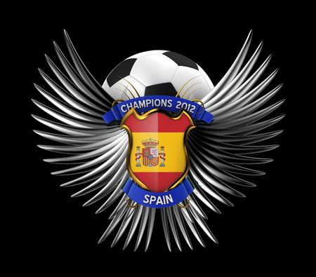 Spain Soccer Ball - easy to isolate over black background photo